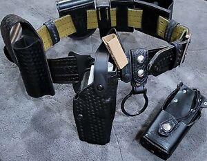 Safariland Glock 17,22 Duty Belt Basketweave Belt Size 32-34 With All Pouches RH