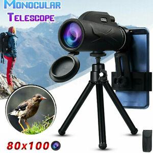 Waterproof 80x100 BAK4 HD Zoom Lens Prism Monocular Telescope+Tripod+ Phone Clip