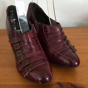 Schuh Steampunk Buckle Shoes EUR 39 UK 6 Burgundy Leather