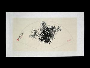 """Chinesische Malerei """"Jade und Eis"""" chinesisches Fächerbild Bambus Tuschemalerei"""