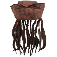 PIRATES BROWN FANCY DRESS CAPTAIN JACK HAT WITH HAIR & BEADED DREADLOCKS H38 478