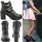 LADIES WOMENS BLOCK MID HEEL GOLD BUCKLE CHELSEA ANKLE CUT OUT BOOTS SHOES SIZE