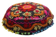 """Vintage Suzani Cushion Cover 16"""" Embroidered Pillow Cases Round Throw Cushions"""