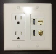 2 Gang HDTV Wall Plate Power Outlet 15A 125V 2x HDMI 1x Coax 1x Car6/Cat5e