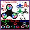 LOT OF 5 PACK 2-LED 3-MINI_CERAMIC Fidget Tri Finger Spinner LED Flash Light Up
