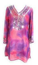 Ladies Embellished Sequins ¾ Sleeve Tunic Top One Size Fits All NWT.