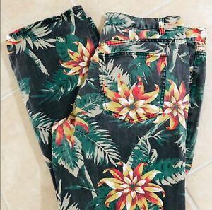 AGILE Tropical FLORAL Print Resort JEANS Size 38