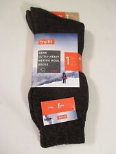 Men's TRUFIT Brown Heavy Merino Wool Wicking Crew Socks~10-15~Shoe Size 7-12