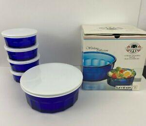 Luminarc Arcoroc Working Collection Cobalt Blue Bowls Set of 5 w/Lids Box