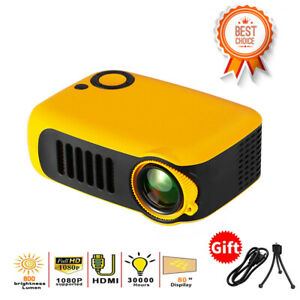Outdoor Camping Portable LED Mini Projector 800 Lumens Built in Speaker bundle