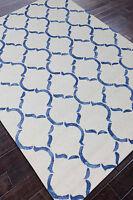 Rug USA Moroccan Scroll 5x8 White/Blue Handmade Tufted Woo& l Area Rug & Carpet