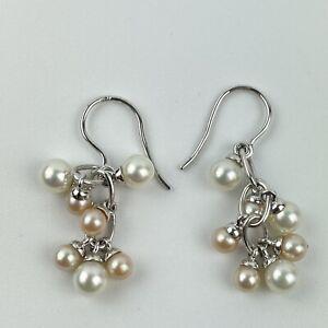 Fine Pair Of 18ct White Gold Mounted Multi Pearl Drop Hook Earrings 3.3cm