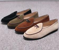 Belgian Mens Bowtie Loafers shoes Suede Slippers Flats With Slip on Dress Shoes
