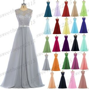Long Lace Chiffon Evening Formal Party Ball Gown Prom Bridesmaid Dress Size 6-30