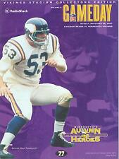 Minnesota Vikings Chicago Bears NFL GameDay Program 11/25/01...Mick Tingelhoff
