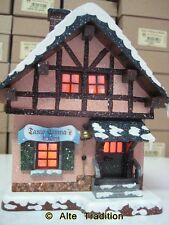 Hubrig Winterlandschaft Haus Tante Emma beleuchtet Erzgebirge Handarbeit