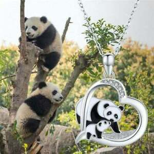 Panda Bear Necklace Lovely Exquisite Heart Pendant Perfect Gift for Women Girls