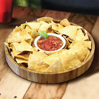 Bamboo Chip and Dip Serving Platter Set - Large Chips Bowl Appetizer Server
