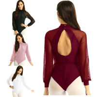 Women Grils Cutout Back Mesh Ballet Leotard Top Gymnastics Bodysuit Dancewear
