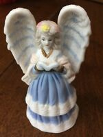 "VTG BLUE/WHITE 5 1/4"" TALL CERAMIC PORCELAIN ANGEL W/ BOOK & GOLD ACCENTS BELL"