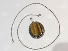 Solid Silver Cabouchon Tigers Eye Pendant 20.2 grams with Chain Ship Worldwide
