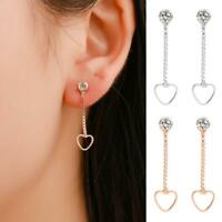 Rose Gold Plated Long Dangle Tassel Stud Drop Crystal Heart Earrings
