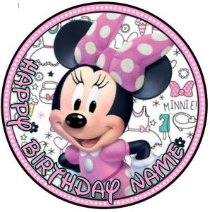 Minnie Mouse Cake Topper PERSONALISED Edible Birthday Image Decoration Round