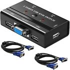 2 Port USB VGA KVM Switch with 2 Cables, Selector Switcher for 2PC Sharing One