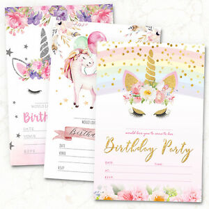 10 x Unicorn Birthday Party Invitations Invites ~ Girl Children Kids Pack