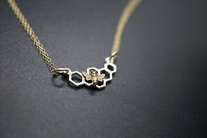 Silver Honeycomb Festoon with Bronze Bee Charm Necklace Mixed Metals Sweetness