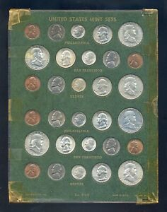 1951 and 1952 PDS US mint sets in old plastic holder