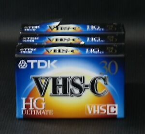 TDK VHS-C HG Ultimate 30 Minute Video Cassette Lot of 3