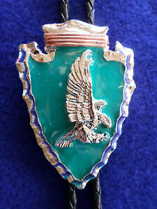 ARROWHEAD BOLO TIE W/ FLYING  EAGLE TURQUOISE ENAMEL OUTSTANDING DESIGN