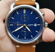 New Old Stock FOSSIL Commuter FS5401 Chronograph Date Blue Face Quartz Men Watch