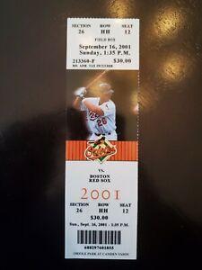 Baltimore Orioles Ticket Stub October 6, 2001 - Cal Ripken's Last Game - READ