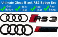 Audi RS3 Gloss Black Rings Grille & Boot Badge Emblem Set - Full Black glossy