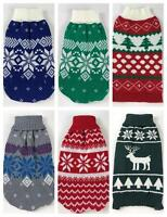 Knitted Christmas Fair Isle Dog Jumper Sweater For Small To Medium Dogs Puppies