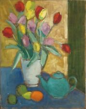 STILL LIFE WITH FLOWERS, POT AND FRUITS