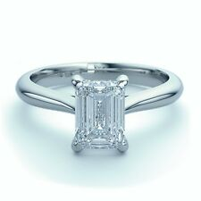 18k White Gold 0.55 Ct Emerald Cut Diamond Solitaire Engagement Ring