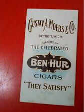 CIGARS BEN HUR CIGAR  ADVERTISING CARD LISTING TONS MORE AT GOLDENHILL3898