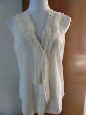 Armani Exchange women's off white cotton modal decorated top Large NWT