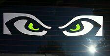 Seattle Seahawks Eyes, Lime Green & Silver Vinyl Window Sticker Decal! GO HAWKS!