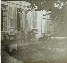FRANCE Jardin Homme au chien, Photo Stereo Vintage Plaque Verre VR3L8n13