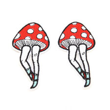 2pcs Cartoon Leg Mushroom Patch Human Leg Boho Hippie Iron on Applique Badage at