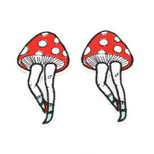 2pcs Cartoon Leg Mushroom Patch Human Leg Boho Hippie Iron on Applique Badage KW