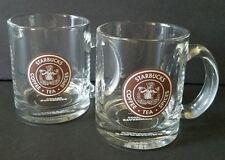 Starbucks Coffee Clear Mug Brown Mermaid Split Tail Logo Tea Cup 2008 Set of 2