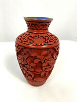 Vintage Chinese Cinnabar Carved Vase with Brass Lip, 5""