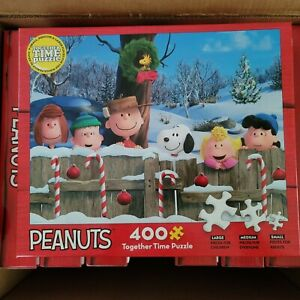 Peanuts Christmas Puzzle Together Time 3 Sizes 400 Pieces Snoopy & the Gang NEW