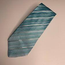 Versace Vintage 100% Silk Blue Striped Design Tie Business