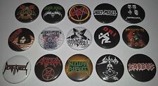 15 Thrash Metal badges Pantera Slayer Metallica Megadeth Kreator Anthrax Exodus
